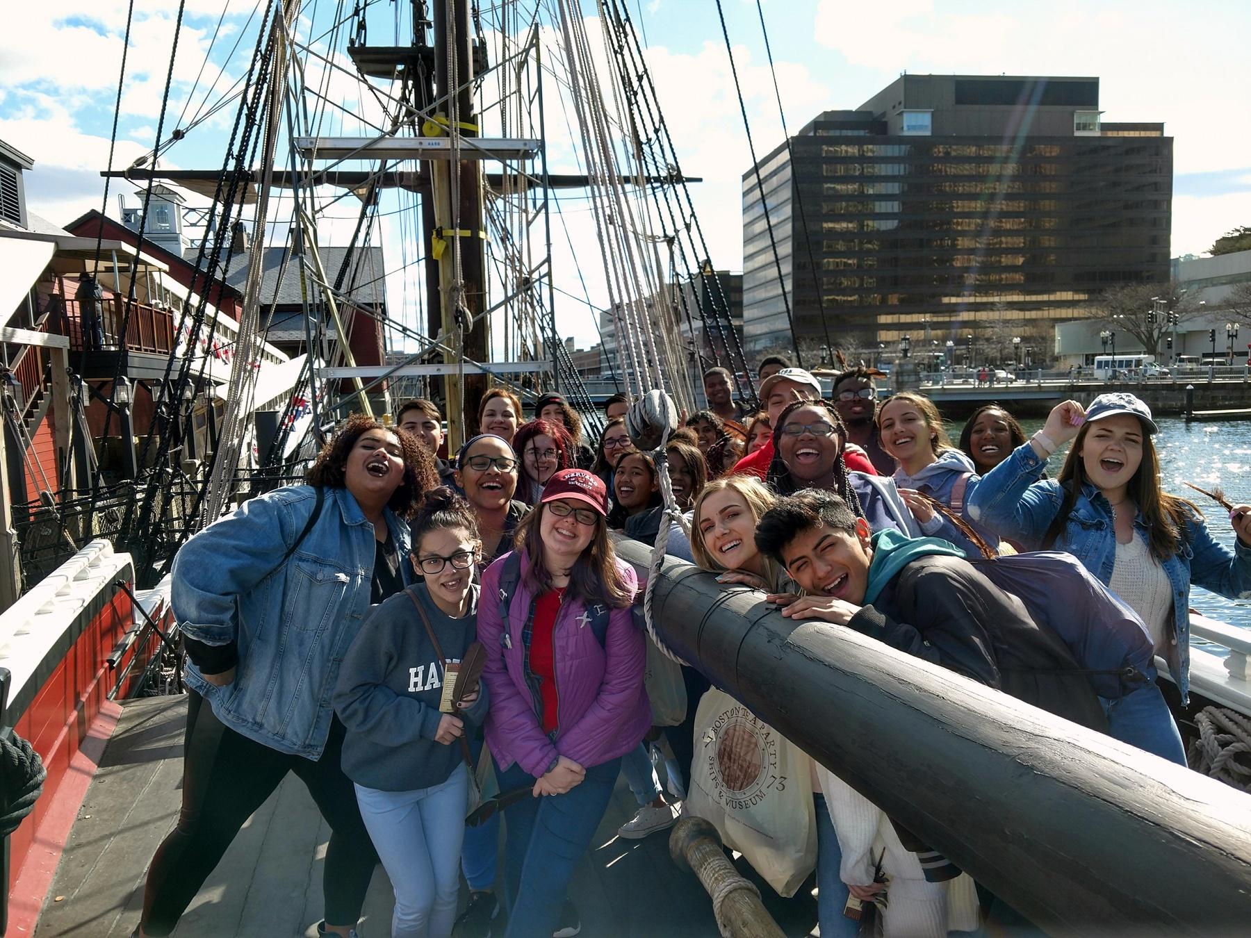 Student travel Boston harbor